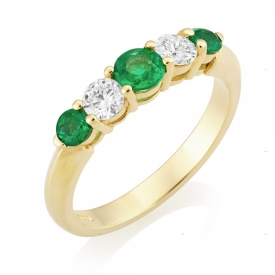 Emerald 0.48ct and GVS Diamond Seven Stone Ring in Yellow Gold