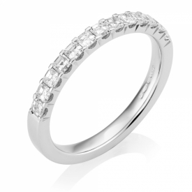 Platinum Asscher Cut Diamond Half-Eternity Ring 0.78ct