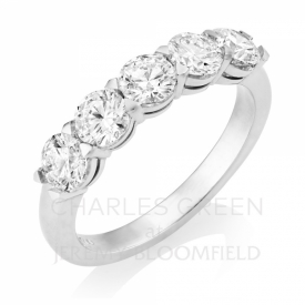 Platinum 5 Stone Ring 1.50ct made in the UK