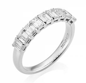 Emerald Cut Diamond 9-stone Ring in Platinum 1.17ct