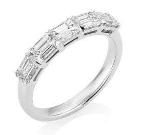 Horizontal Emerald Cut Diamond 5-stone Ring in Platinum