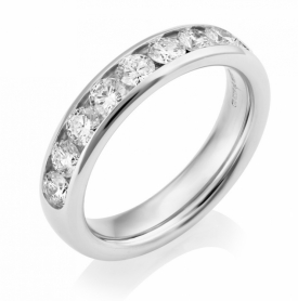 Channel Set Half Eternity Round Brilliant GVS Diamond Ring 1ct