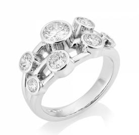 Platinum G VS Round Brilliant Diamond Bubble Ring 1.50ct