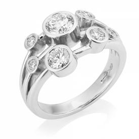 Platinum G VS Round Brilliant Diamond Bubble Ring 1ct