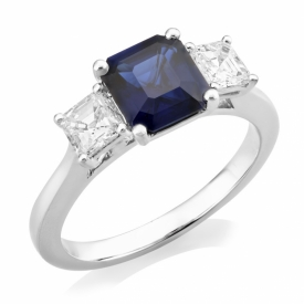 Diamond and Sapphire Square Cut Trio Ring 1.75ct