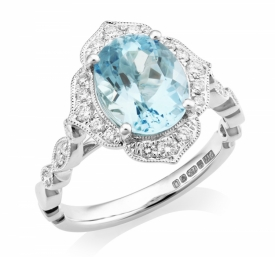 Empire Style Diamond and Oval Aquamarine Ring 2.38ct