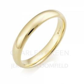 Medium Court 4mm 18ct Yellow Gold Wedding Ring