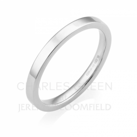 Medium Flat Court 2mm Platinum Wedding Ring handmade