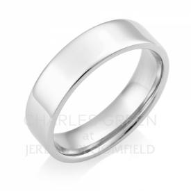 Medium Weight Flat Court 6mm Platinum Wedding Ring