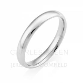 Light Court 3mm Platinum Wedding Ring handmade by Charles Green