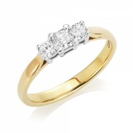 Pre-Owned Asscher Cut and Round Brilliant Diamond  Ring