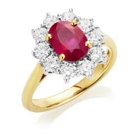 Oval Cut Ruby with Diamond Halo Ring in 18ct Yellow and White Gold