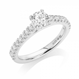 Brilliant Cut Diamond Ring 0.50ct in Platinum with 0.19ct on the shoulders