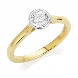 Diamond Ring 0.50ct in Platinum and 18ct Yellow Gold with Rub-over setting