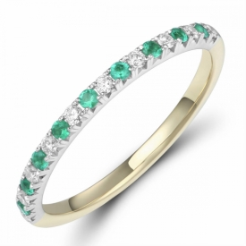 Emerald and Diamond Eternity Ring 0.10ct in 18ct White & Yellow Gold,