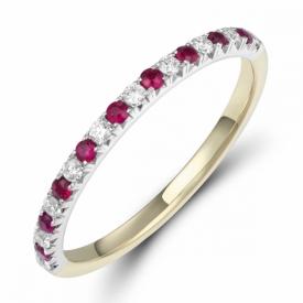 Ruby and Diamond Half Eternity Ring 0.14ct