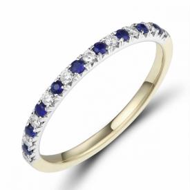 Sapphire and Diamond Half Eternity Ring 0.15ct