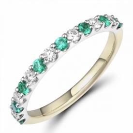 Emerald and Diamond Half Eternity Ring 0.24ct
