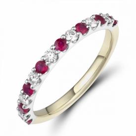 Round Cut Ruby and Diamond Half Eternity Ring 0.32ct