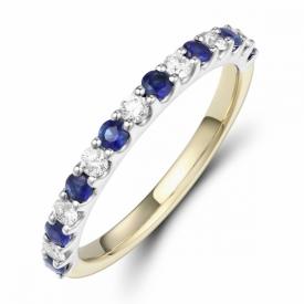 Round Cut Sapphire and Diamond Half Eternity Ring 0.36ct
