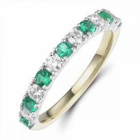 Emerald and Diamond Half Eternity Ring 0.36ct Round Cut in Yellow and White Gold
