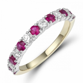 Ruby and Diamond Half Eternity Ring 0.55ct