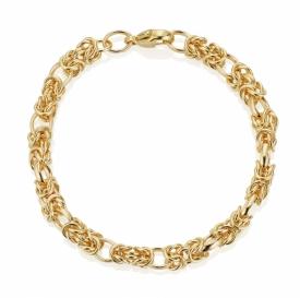 9ct Fancy Link Chain Bracelet in Yellow Gold
