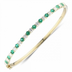 Emerald and Diamond Hinged Bangle in 18ct Yellow Gold