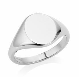 Oval Signet Ring Handmade in Platinum