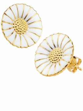 Daisy White & Gold Ear Studs - 18mm - 0