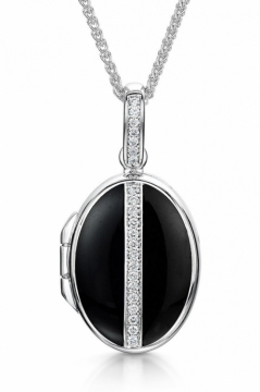 Oval Line Diamond & Black Enamelled Locket