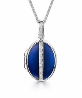 Oval White Gold and Diamond Locket with Blue Enamel