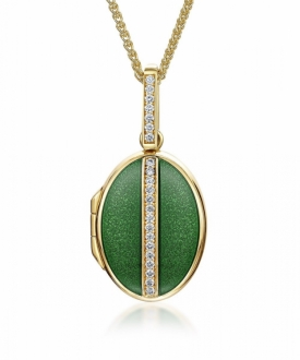 Charles Green Gold, Diamond and Green enamel Locket
