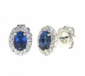 Sapphire and Diamond Oval Earrings 1.18ct