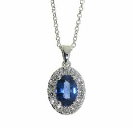 Sapphire and Diamond Oval Pendant 0.43ct