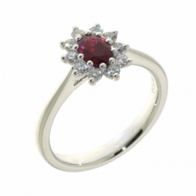 Oval Ruby and Diamond Star Ring in 18ct White Gold