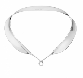 DEW DROP Wide Mirrored Silver Neck Ring