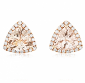 Rose Gold, Diamond and trillion-cut Morganite Earrings 1.62ct