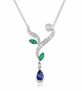 Art Nouveau Style Emerald, Sapphire and Diamond Necklace
