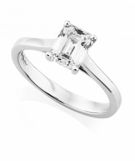 Platinum Emerald Cut Diamond Ring 0.71ct GIA