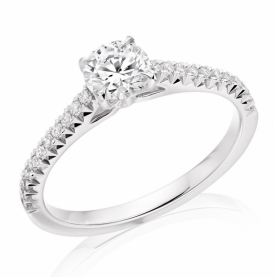 French Cut Diamond half-set ring with central Diamond in Platinum
