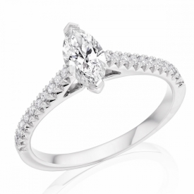 French Cut Diamond Setting with Marquise Cut Diamond
