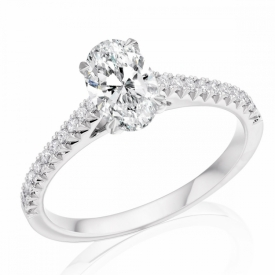 French Cut Oval Diamond Ring