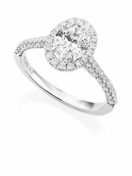Platinum Oval Diamond Halo Ring - 0