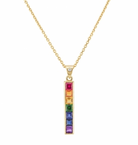 18ct Yellow Gold Multi-coloured Gemstone Long Pendant