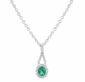 Oval Emerald and GVS Pave Diamond Vintage Style Pendant 0.27ct