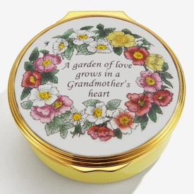 Enamel Grandmother's Heart Box with floral details