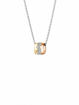 FUSION Yellow White & Rose Gold Pendant with Pavé Set Diamonds - 0