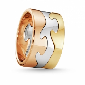 FUSION 3-Part Yellow White and Rose Gold Ring - 0
