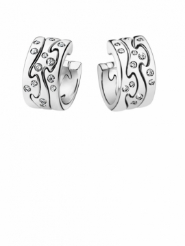 FUSION White Gold Earrings with Scattered Diamonds - 0